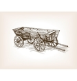 Vintage wooden cart hand drawn sketch vector image vector image