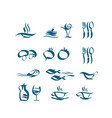wave style icon set vector image
