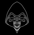 white skull on black background vector image vector image