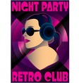 abstract retro poster with a girl DJ vector image