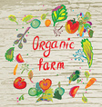 Organic farm banner with frame and texture - vector image
