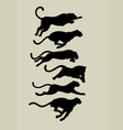 Leopard Running Silhouettes vector image