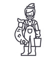 fisherman with fish line icon sign vector image