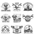 Motorcycle Black Emblem Set vector image