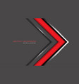 abstract red arrow silver line direction on grey vector image vector image
