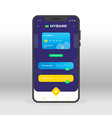 blue and yellow online banking ui ux gui screen vector image vector image
