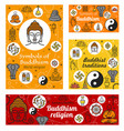 buddhism religion buddhist religious symbols vector image vector image