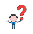 businessman character holding question mark color vector image