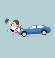 businesswoman about to be hit by a car vector image vector image