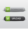 button downloand and uploand web white and black vector image vector image