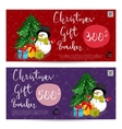 Christmas Gift Voucher with Prepaid Sum Template vector image