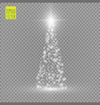 christmas tree made white glitter bokeh lights vector image vector image