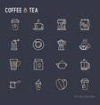 coffee and tea thin line icons set vector image vector image