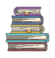 color crayon stripe image of stack of books with vector image