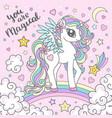 cute magical unicorn on a rainbow isolated vector image vector image
