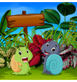 cute snails play in the garden vector image
