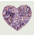 dodle colorful heart with ornate ornament vector image vector image