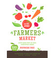 farmer market poster template with vegetables icon vector image vector image