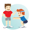 Fitness personal trainer and funny sportsman doing vector image