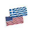 flags of greece and america on a white background vector image vector image