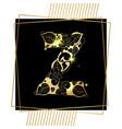 golden ornamental alphabet letter z font vector image