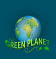 Green planet on a blue background with leaves vector image