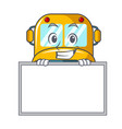 grinning with board school bus character cartoon vector image vector image