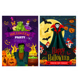 halloween greeting banner with zombie and vampire vector image vector image