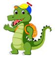 happy crocodile cartoon going to school vector image