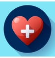 health care icon white cross in red heart vector image vector image