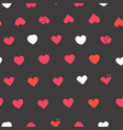 hearts symbols on black background seamless vector image vector image