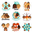 international human faces emblems vector image