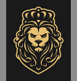 king lion in vintage style on a dark background vector image