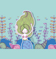 mermaid woman with fishes and branches leaves vector image vector image