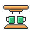 outlined pixel icon coffee machine fully vector image
