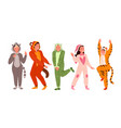people friends on pajamas party set young funny vector image vector image
