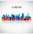 queens skyline silhouette in colorful geometric vector image vector image