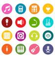 recording studio symbols icons set colorful vector image vector image
