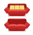 Red sofa couch design Front view vector image