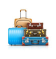 retro leather suitcases vector image vector image