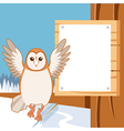 Screech-Owl on the flat tree background vector image