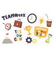 set icons teamwork theme target with arrow vector image