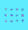 set simple line icons aircraft vector image vector image