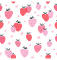 strawberry doodle seamless pattern vector image