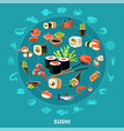 sushi round composition vector image