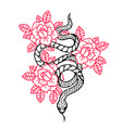 tattoo with rose and snake traditional black vector image vector image