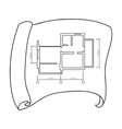 Technical drawing of house icon in outline style vector image
