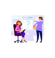 the boss gives task assistant secretary woman vector image vector image