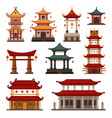 traditional chinese buildings set pagoda ancient vector image vector image