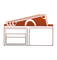 wallet with cash red lines vector image vector image